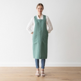 Grembiule in lino Moss Green Pinafore Stone Washed