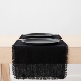 Tovaglietta Terra in Lino Black con frangia fatta a mano