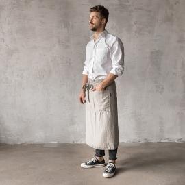 Grembiule da uomo in Lino Taupe Chef Stone Washed