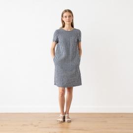 Vestito in lino Navy Check Isabella