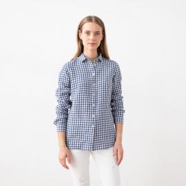 Camicia Blue White Gingham in Lino