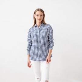Blue White Check Camicia in Lino Ernesto