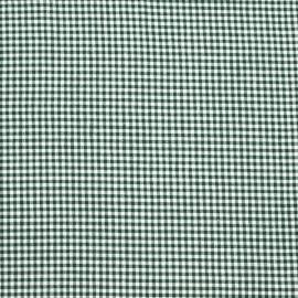 Tessuto in Lino e Cotone a Quadri Verde Bianco