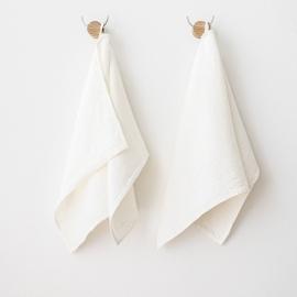 Set di 2 asciugamani per ospiti in lino bianco Twill