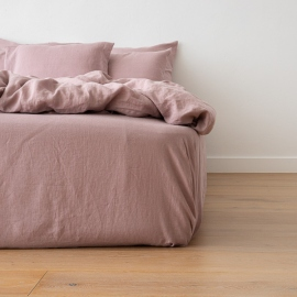 Dusty Rose Lenzuolo con Angoli in Lino Crushed