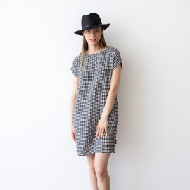 Black White Gingham Abito Lino Alice