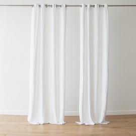 Linen Curtain Panel Grommet White Terra