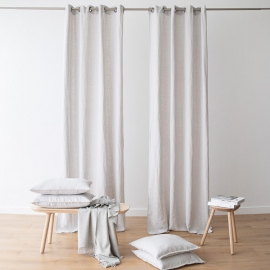 Linen Curtain Panel Grommet Silver Terra