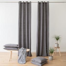 Linen Curtain Panel Grommet Steel grey Terra
