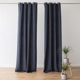 Linen Curtain Panel Grommet Anthracite Terra