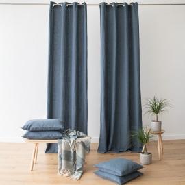 Linen Curtain Panel Grommet Blue Terra