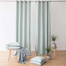 Linen Curtain Panel Grommet Sea Foam Terra