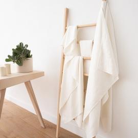Set di asciugamani da bagno in lino bianco Twill