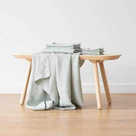 Set di Asciugamani da Bagno in Lino Sea Foam Washed Waffle