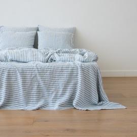 Blue Lenzuolo in Lino Ticking Stripe