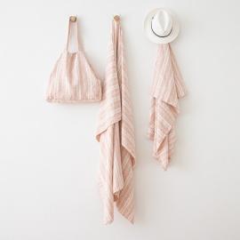 Borsa da Spiaggia Multistripe in lino Rosa