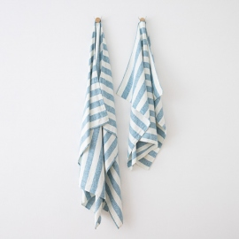 Asciugamano in lino Philippe Marine Blue