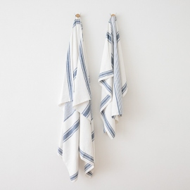 Asciugamano in lino Tuscany Indigo