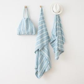 Asciugamano in lino Multistripe Marine Blue