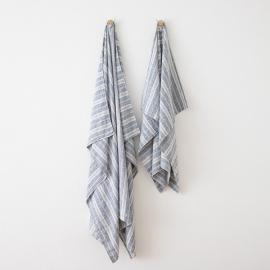 Asciugamano in lino Multistripe Indigo
