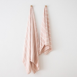 Asciugamano in lino Multistripe Rosa