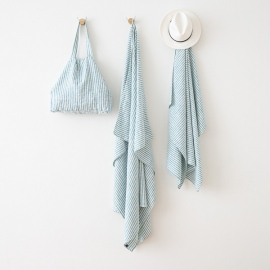 Asciugamano in lino Brittany Marine Blue