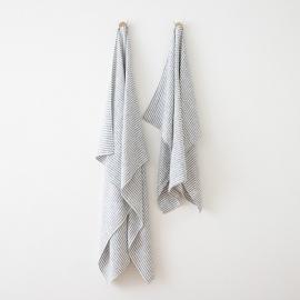 Asciugamano in lino Brittany Indigo