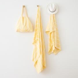 Borsa da Spiaggia Multistripe in lino Yellow