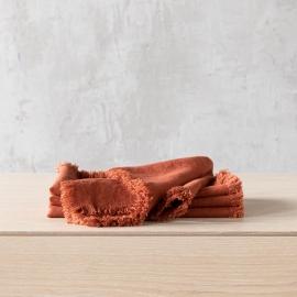 Tovagliolo Terra in Lino Brick con frangia fatta a mano