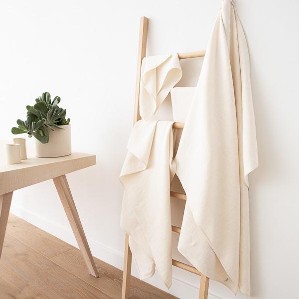 LinenMe Asciugamano da Bagno in Lino Colore Crema Lara